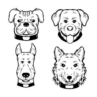 Set di illustrazioni di faccia di cane carino