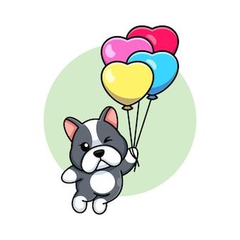 Cane sveglio che galleggia con il fumetto del palloncino