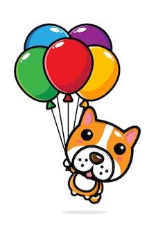Simpatico cane che vola con palloncini colorati
