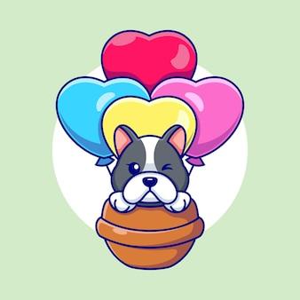 Cane sveglio che vola con il fumetto del pallone di amore