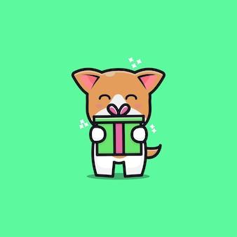 Illustrazione sveglia dell'icona del fumetto della scatola regalo del cane
