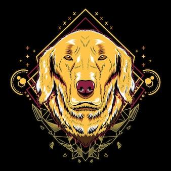 Stile dell'illustrazione della geometria del documentalista dorato del cane sveglio nella priorità bassa nera.