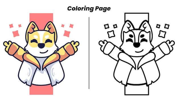Il cane carino saluta con la pagina da colorare