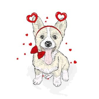 Cane sveglio e cuori di san valentino isolato su bianco