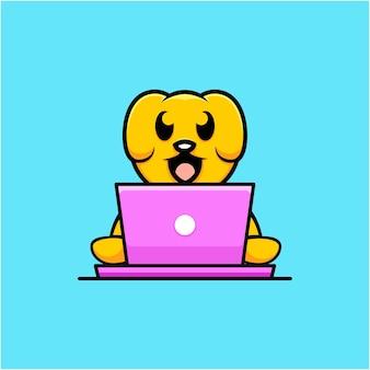 Illustrazione del cane carino che lavora con lo stile del fumetto del computer portatile