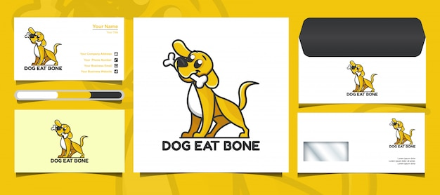 Logo di cane carino e modello di progettazione di identità di marca