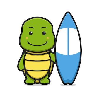 Carattere sveglio della mascotte del cane che tiene l'icona di vettore del fumetto del bordo di nuoto. disegno isolato su bianco. stile cartone animato piatto.