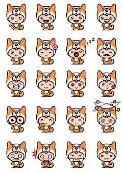 Set design mascotte cane carino
