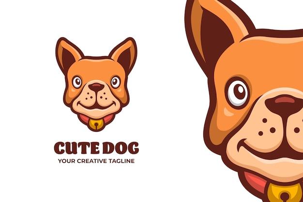 Modello di logo del personaggio mascotte per la cura degli animali domestici del cane carino