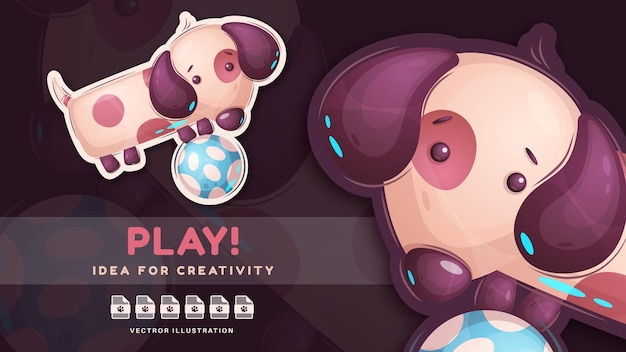 Simpatico cane gioca a calcio - adorabile adesivo. vettore eps 10