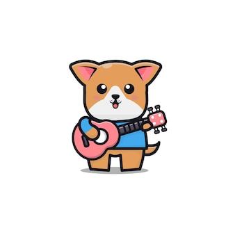 Simpatico cane suona la chitarra