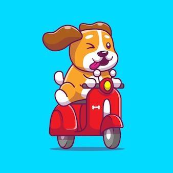 Illustrazione sveglia dell'icona del fumetto del motorino di guida del cane. stile cartone animato piatto