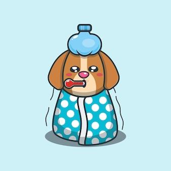 Illustrazione vettoriale di cartone animato malato di cane carino