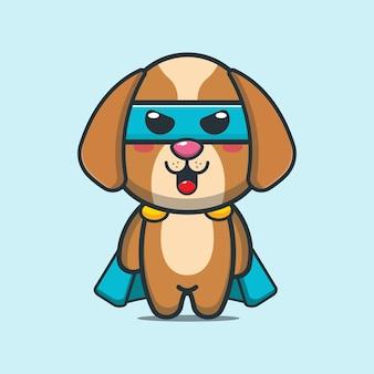 Illustrazione del fumetto del super eroe del cane carino