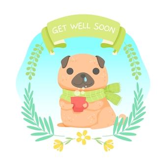 Simpatico cane che desidera guarire presto