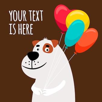 Cane carino con palloncini. biglietto di auguri con illustrazione vettoriale di cane sorridente
