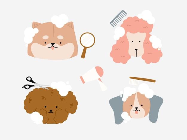 Simpatico cane con bolla al salone di toelettatura area per cani. parrucchiere per animali, negozio di acconciatura e toelettatura. negozio di animali per cani con elementi tagliati lana, spazzola pettine, asciugatura, specchio a mano e illustrazione del pettine.