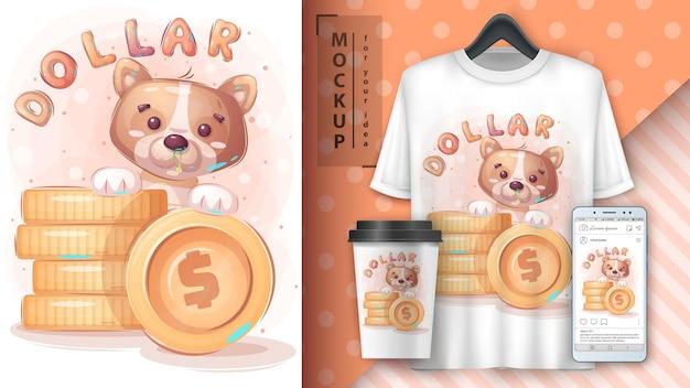 Simpatico cane con poster di monete e merchandising