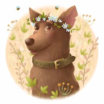 Simpatico cane con una corona di fiori in testa