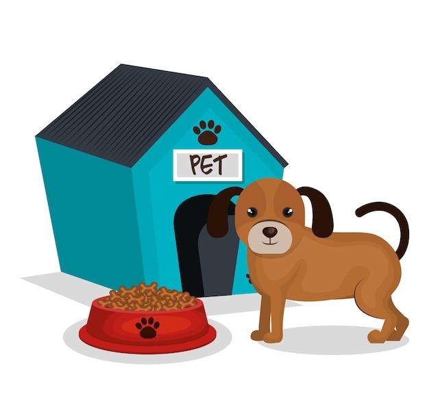 Simpatico cane con l'icona di casa mascotte