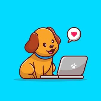 Cane carino con laptop fumetto illustrazione vettoriale. concetto di tecnologia animale isolato. stile cartone animato piatto