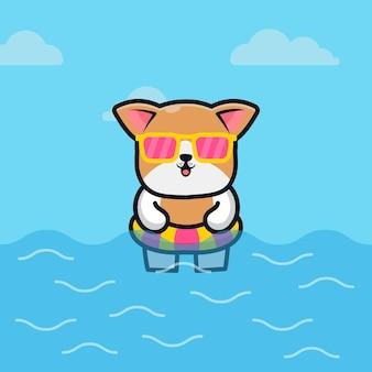Cane sveglio con il concetto di estate animale dell'illustrazione del fumetto dell'anello di nuotata