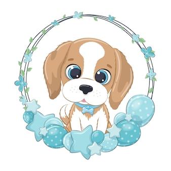 Cagnolino carino con palloncino e ghirlanda.