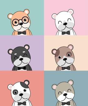 Avatar di cani carino, diversi cani sorridenti