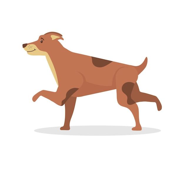 Cani carini che mangiano saltando dimenando e dormendo correndo e abbaiando giocando a personaggi in stile piatto