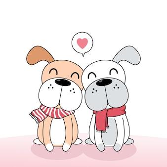 Simpatici cani coppia di innamorati.