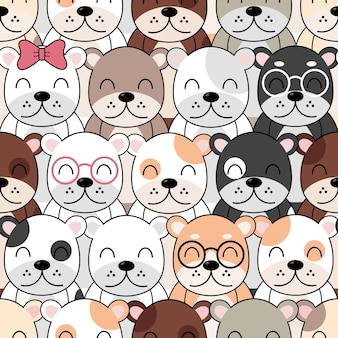 Modello di cani carino, carta da parati senza giunte di cani diversi.