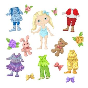 Bambola carina con set di vestiti con accessori e giocattoli.