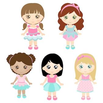 Set di bambole carine