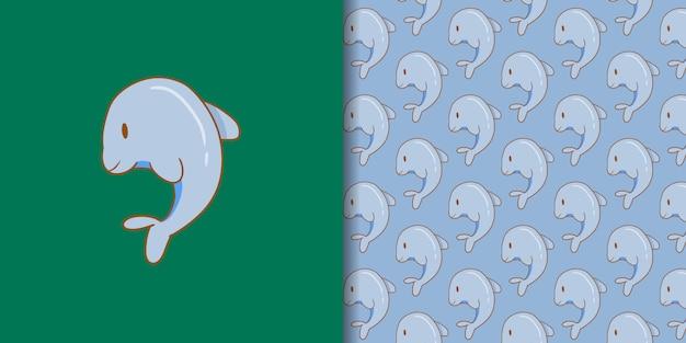 Simpatico cartone animato delfino con motivo