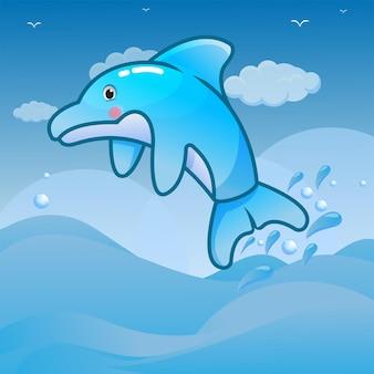 Simpatica illustrazione del delfino nel mondo del mare in alto