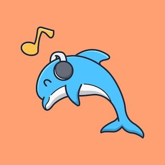 Delfino carino sta ascoltando musica con le cuffie