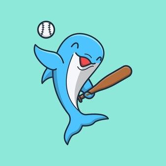 Delfino carino che gioca a baseball