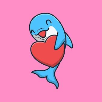 Delfino carino che è felice con pieno d'amore
