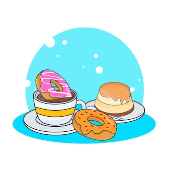 Illustrazione sveglia dell'icona di ciambella, budino e caffè. concetto dell'icona di cibo dolce o dessert. stile cartone animato