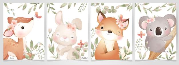 Simpatici animali doodle con collezione floreale