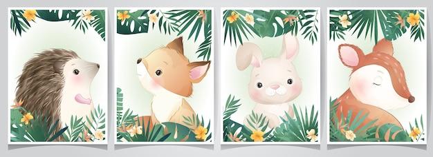 Simpatici animali doodle con illustrazione set floreale