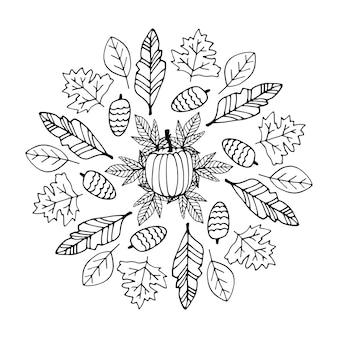 Carino scarabocchio autunno mandala con foglie funghi cestini zucche su sfondo bianco