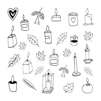 Insieme di autunno carino doodle con candele foglie di sorbo illustrazione vettoriale disegnato a mano