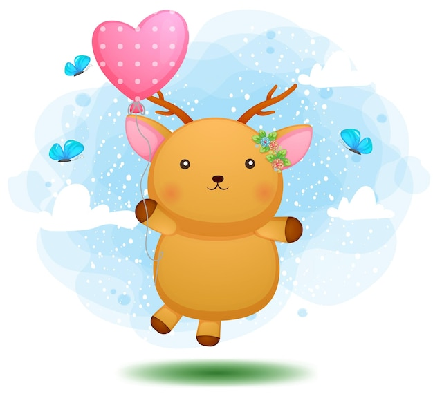 Cervi del bambino sveglio di doodle che volano con il palloncino rosa