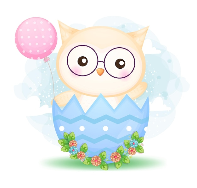 Gufo sveglio del bambino di scarabocchio che tiene palloncino nel fumetto decorativo dell'uovo di pasqua