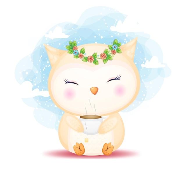 Gufo sveglio del bambino di doodle che tiene l'illustrazione del fumetto della tazza di tè. cibo per animali