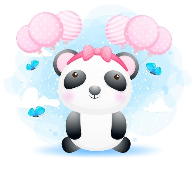 Ragazza sveglia del panda del bambino di scarabocchio con l'aerostato
