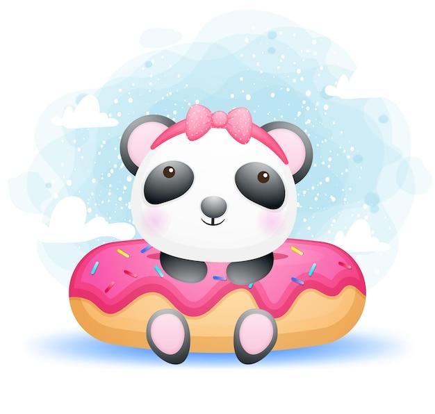 Ragazza sveglia del panda del bambino di scarabocchio con il grande dessert