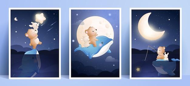 Simpatico orso doodle e coniglietto con collezione di cornici Vettore Premium