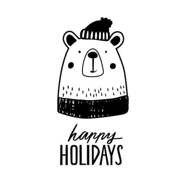 Simpatico orso doodle in maglione e cappello invernale.